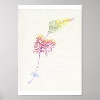 Dibujo de la pluma del arco iris póster