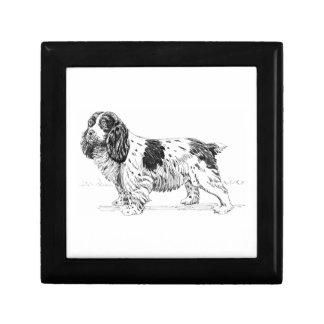 Dibujo de la raza del perro de caza del pájaro del joyero cuadrado pequeño