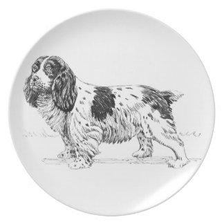 Dibujo de la raza del perro de caza del pájaro del plato de cena