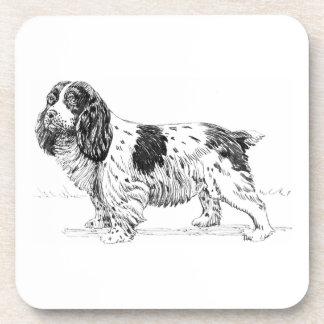 Dibujo de la raza del perro de caza del pájaro del posavasos de bebida