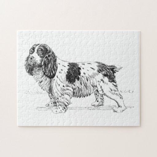 Dibujo de la raza del perro de caza del pájaro del puzzles