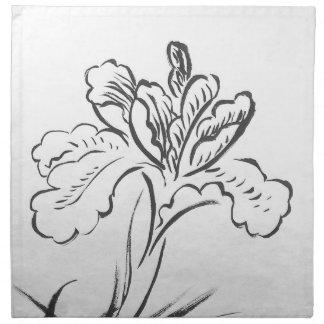 Dibujo de la tinta de la flor elegante en blanco y servilletas