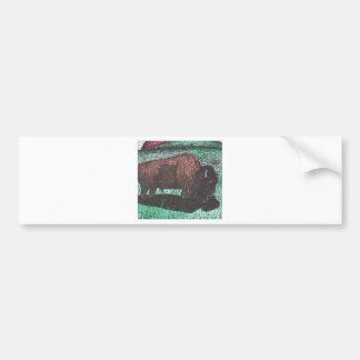 Dibujo de la tinta del búfalo pegatina para auto