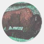 Dibujo de la tinta del búfalo pegatinas redondas