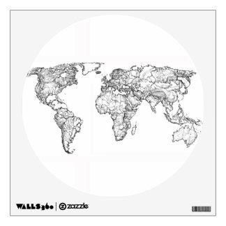 Dibujo de la tinta del mapa del mundo