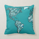 dibujo de la tinta del mapa del mundo del aquamari almohadas