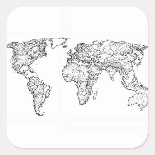 Dibujo de la tinta del mapa del mundo pegatina cuadrada