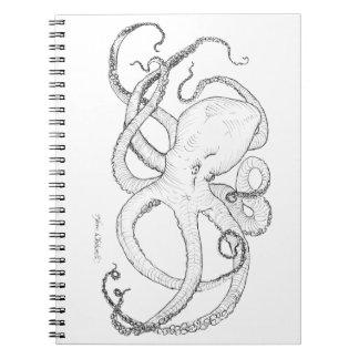 Dibujo de la tinta del pulpo blanco y negro notebook