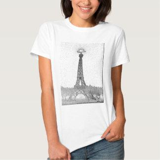Dibujo de la torre Eiffel de París, Tejas Remera