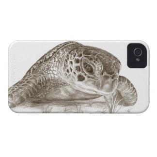 Dibujo de la tortuga de mar verde iPhone 4 Case-Mate protectores