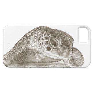 Dibujo de la tortuga de mar verde iPhone 5 carcasa