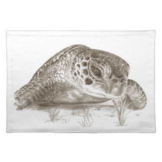 Dibujo de la tortuga de mar verde manteles individuales