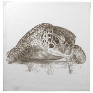Dibujo de la tortuga de mar verde servilleta de papel
