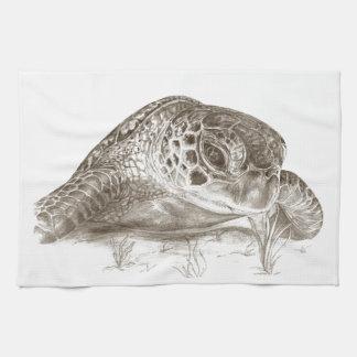 Dibujo de la tortuga de mar verde toallas de cocina