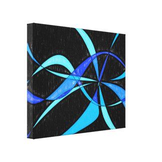 Dibujo de lápiz azul fresco abstracto moderno de lienzo envuelto para galerias