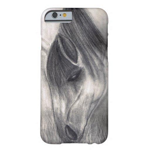 Dibujo de lápiz - caballo que pasta funda de iPhone 6 barely there
