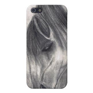 Dibujo de lápiz - caballo que pasta iPhone 5 cárcasas