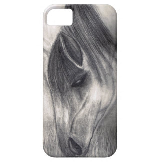 Dibujo de lápiz - caballo que pasta iPhone 5 funda