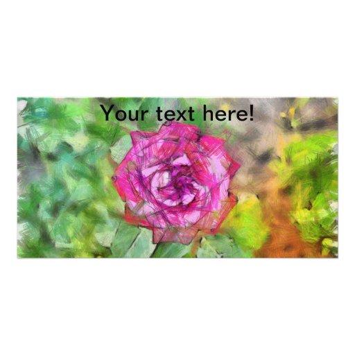 Dibujo de lápiz color de rosa rosado tarjetas personales con fotos