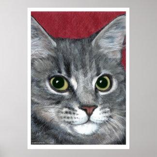 Dibujo de lápiz coloreado ~ del gato de Tabby Póster