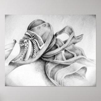 Dibujo de lápiz de la sandalia póster