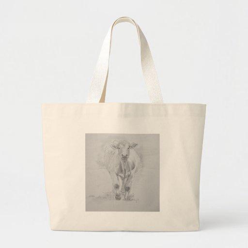 Dibujo de lápiz de una vaca que camina hacia usted bolsas de mano