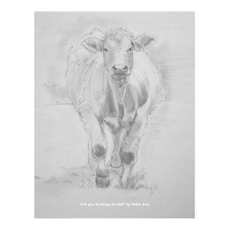 Dibujo de lápiz de una vaca que camina hacia usted tarjetón