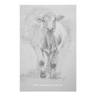 Dibujo de lápiz de una vaca que camina hacia usted papelería personalizada