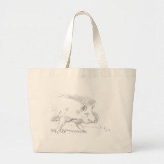 Dibujo de lápiz del cerdo bolsas de mano
