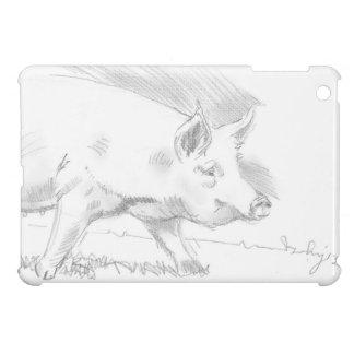 Dibujo de lápiz del cerdo iPad mini carcasas
