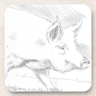 Dibujo de lápiz del cerdo posavasos
