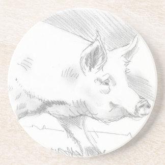 Dibujo de lápiz del cerdo posavasos manualidades