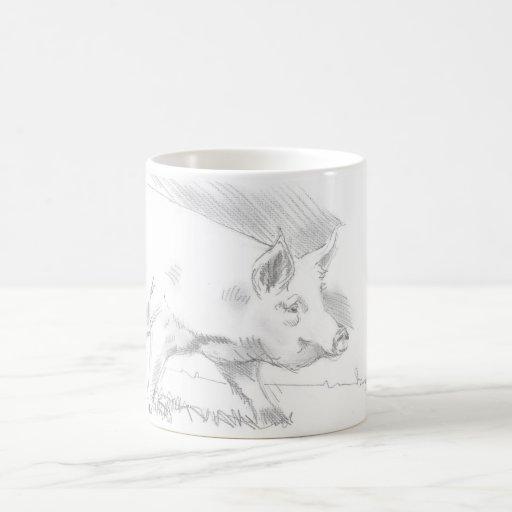 Dibujo de lápiz del cerdo taza de café