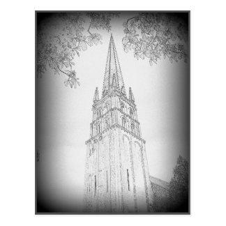 Dibujo de lápiz del chapitel de la iglesia tarjetas postales