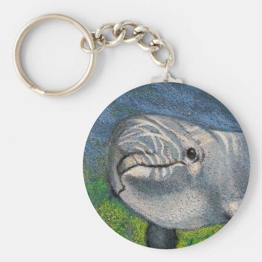Dibujo de lápiz del color: Delfín: Agua Sun-Dapple Llavero Personalizado