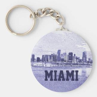Dibujo de lápiz del horizonte de Miami, la Florida Llavero Redondo Tipo Pin