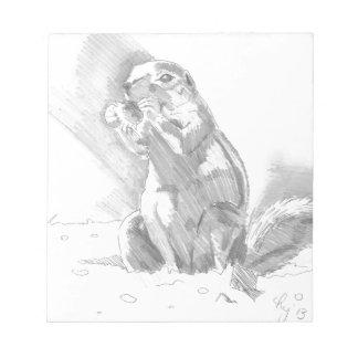 dibujo de lápiz del perro de las praderas blocs de notas