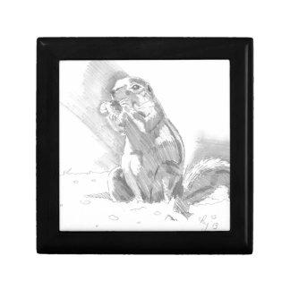 dibujo de lápiz del perro de las praderas caja de recuerdo