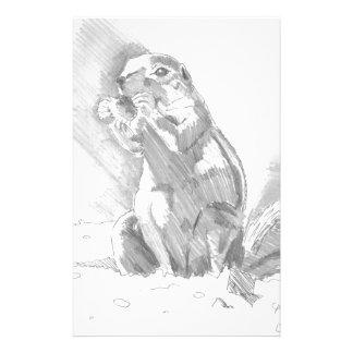 dibujo de lápiz del perro de las praderas papeleria de diseño