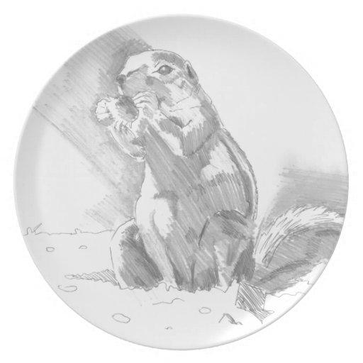 dibujo de lápiz del perro de las praderas platos para fiestas