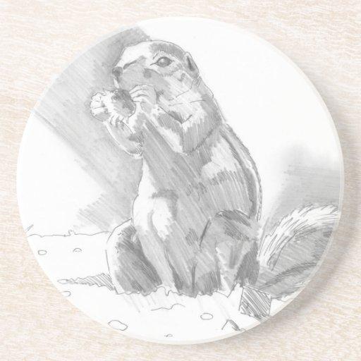 dibujo de lápiz del perro de las praderas posavasos diseño
