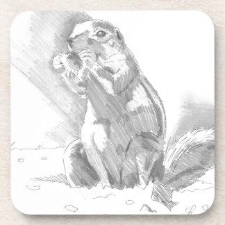 dibujo de lápiz del perro de las praderas posavasos de bebida