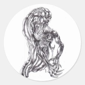 dibujo de lápiz demoníaco pegatina redonda