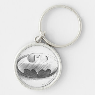 Dibujo de las insignias de Batman Llavero Redondo Plateado