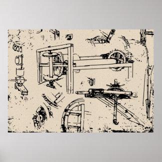 Dibujo de las invenciones de Leonardo da Vinci Póster