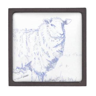 dibujo de las ovejas caja de recuerdo de calidad