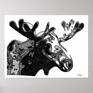 Dibujo de los alces en blanco y negro póster