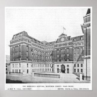 Dibujo de los arquitectos del hospital de Middlese Póster