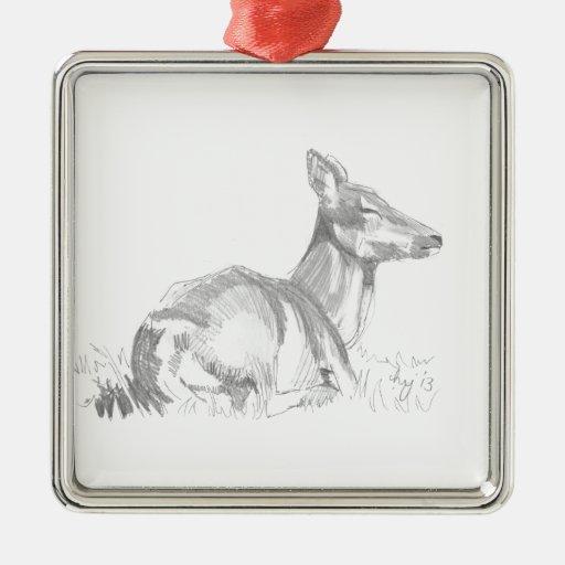 Dibujo de los ciervos adorno cuadrado plateado