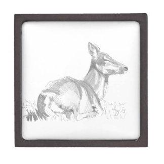 Dibujo de los ciervos caja de joyas de calidad
